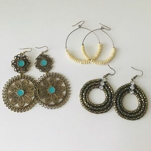 3 pairs of vintage earrings
